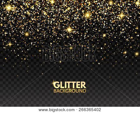 Glitter Background. Gold Glitter Particles Effect For Luxury Greeting Card. Sparkling Texture. Chris