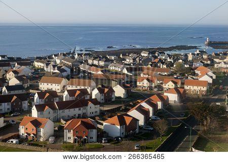 Aerial View Of Castletown On Isle Of Man. Douglas, Isle Of Man.