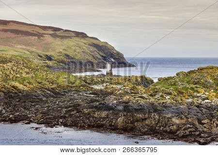 Kitterland And Old Lighthouse Seen From  Isle Of Man. Isle Of Man.