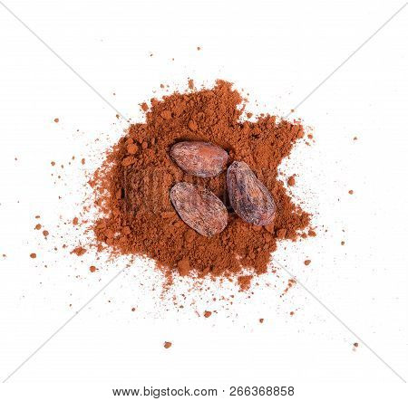Cocoa Power,cocoa Seeds  On White Background.cocoa Is Food For Energy.