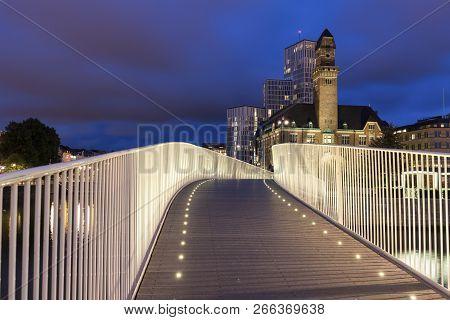 Pedestrian Bridge In Malmo At Night. Malmo, Scania, Sweden.