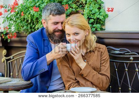 Dating Businessman. Couple Cuddling Cafe Terrace. Couple In Love Sit Cafe Terrace Enjoy Coffee. Thin