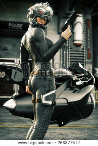 Science Fiction Female Police Officer Posing In Front Of Her Jet Bike ,wearing Helmet And Uniform Wi