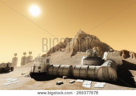 Habitat Settlement Research And Living Quarters On The Desolate Planet Of Mars. 3d Rendering Illustr