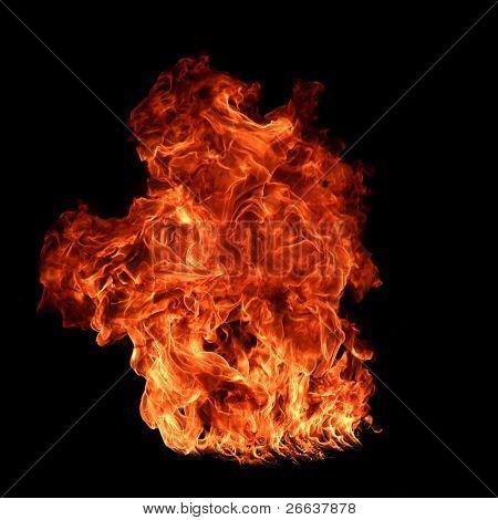 Big fire flame on black background