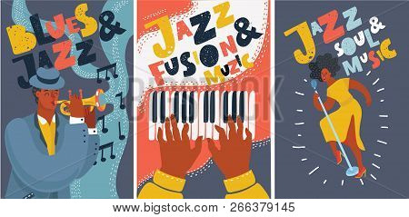 Vector Cartoon Illustration Of Set Of Music Cards And Banners, Posters. Music Cards With Singer, Pia