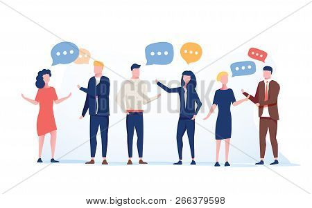 Vector Illustration Flat Style, Businessmen Discuss Social Network Group Of People, News Social Netw