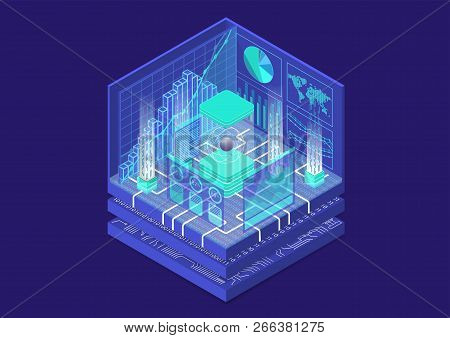 Quantum Computing Isometric Vector Illustration. 3d View On Conceptual Quantum Computer