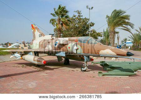 Hatzerim, Israel - Jan 27, 2011: Israeli Air Force Bell Dassault Mirage Kfir Fighter Jet On Display