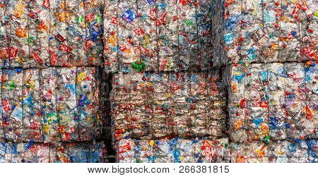 Arnhem, Netherlands - Mar 15, 2011: Pressed Recycled Plastic Bottles In Bales At An Undisclosed Recy