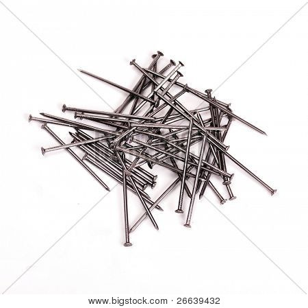 Pile of iron nails isolated on white background