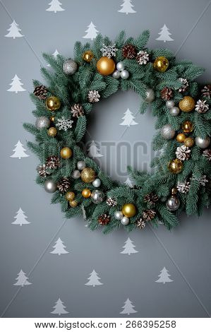 Christmas Wreath On Gray Background, Top View, Flat Lay, Winter Holidays Concept