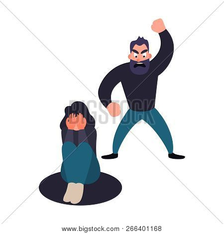 Abused Woman. Abuser Man Shouts At A Girl. Stop Harassment And Abuse In Relationship Concept.