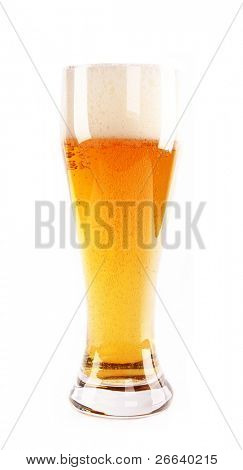 Glass of beer, isolated on white background