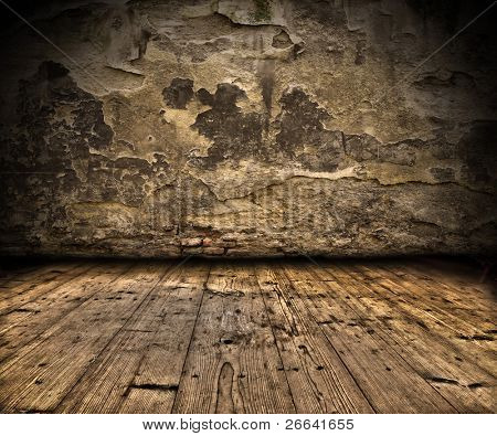 Grunge wall with wooden plank floor