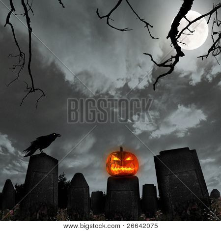 Spooky halloween background with pumpkin and raven silhouette