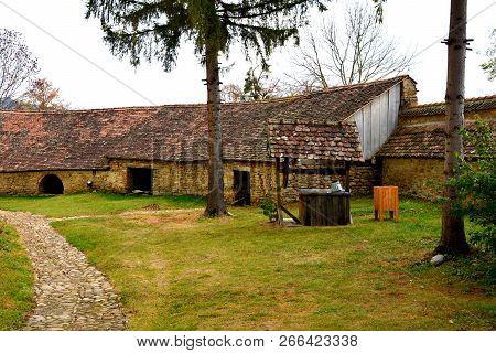 Courtyard Of The Medieval Fortified Saxon Church In The Village Crit-kreutz, Transylvania, Romania