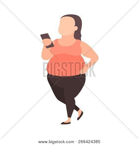 Young Plus Size Girl With Smartphone. Teenager Fighting Overweight. Fat Girl In Sportswear. Teenage