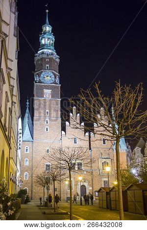Townhall Of Wroclaw At Night, Silesia, Poland