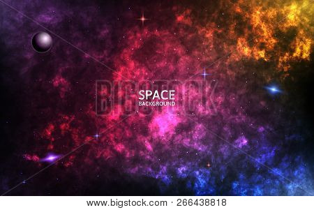 Colorful Nebula. Realistic Space Background. Color Cosmos Backdrop. Spiral Galaxy And Shining Stars.