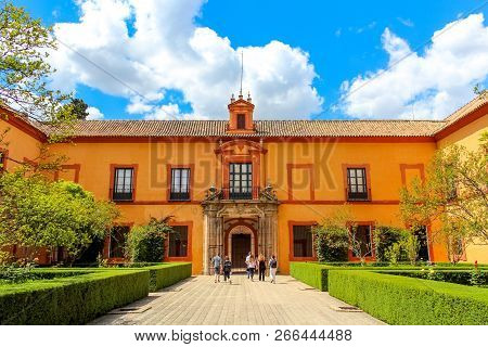 Seville, Spain - 5/2/18: Courtyard Of Royal Alcazar Of Seville (real Alcazar De Sevilla) Some Touris