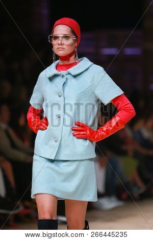Zagreb, Croatia - October 25, 2018 : Fashion Model Wearing Clothes For Autumn-winter, Designed By Tw