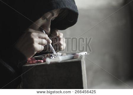 Teenage Girl Is Taking Heroin, Drug Addict, Disease Concept, No To Drugs Concept, 26 June, Internati