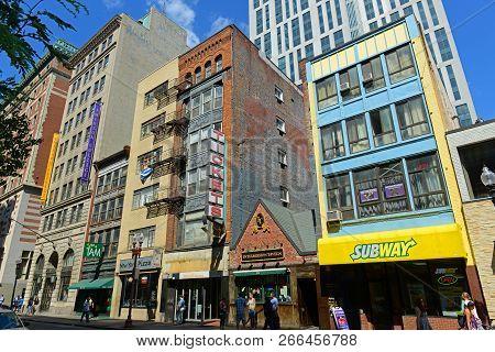 Boston - Jun. 13, 2015: Historic Buildings On Tremont Street At Stuart Street In Chinatown Boston, M
