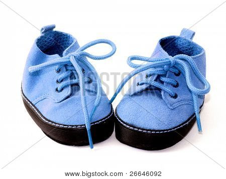 A pair of blue booties