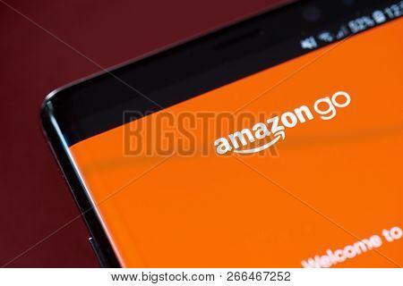 New York, Usa - November 1, 2018: Amazon Go App Menu On Smartphone Screen Close Up View