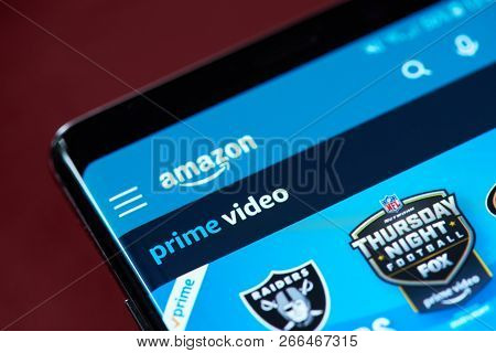 New York, Usa - November 1, 2018: Amazon Video Prime App Menu On Smartphone Screen Close Up View