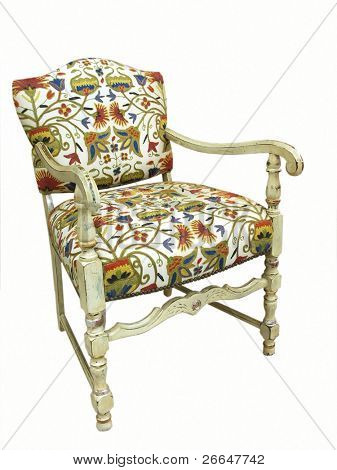 Vintage armchair with crewel embroidery
