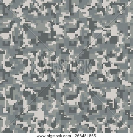 Digital Gray Pixel Camouflage Seamless Pattern For Your Design.  Usa Army Clothing. Military Camo. V
