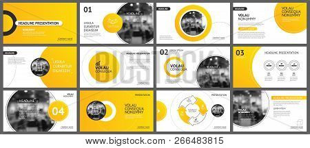 Presentation And Slide Layout Background. Design Yellow And Orange Gradient Circle Template. Use For