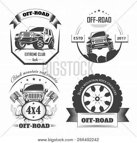 Off-road 4x4 Extreme Car Club Logo Templates For Design Projects.