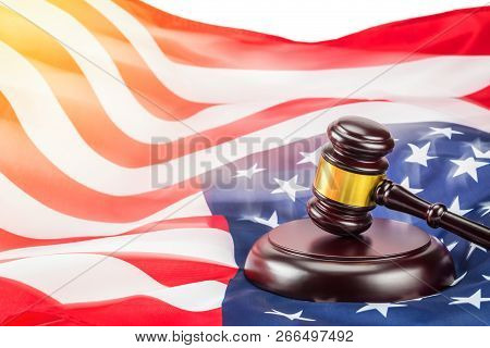 A Photo Of Gavel And Usa Flag. Shot In Concept Idea Law And Usa.