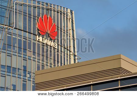Vilnius, October 31: Huawei Logo On A Building On October 31, 2018 In Vilnius, Lithuania. Huawei Is