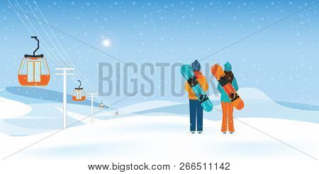 Couple Snowboarders Standing With Snowboards And Cable Cars Or Aerial Lift Moving Above The Ground A