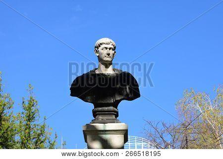 Drobeta Turnu Severin, Romania - 10.08.2018: Traian Roman Emperor Statue Landmark Architecture