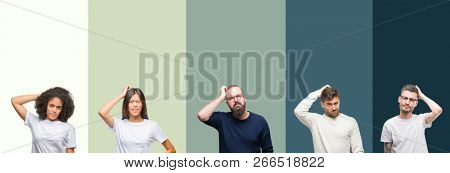 Collage of group of young people over colorful isolated background confuse and wonder about question. Uncertain with doubt, thinking with hand on head. Pensive concept.