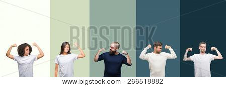 Collage of group of young people over colorful isolated background showing arms muscles smiling proud. Fitness concept.