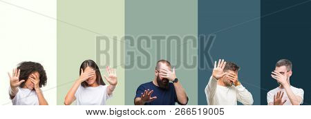 Collage of group of young people over colorful isolated background covering eyes with hands and doing stop gesture with sad and fear expression. Embarrassed and negative concept.