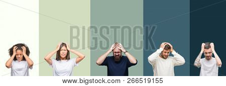 Collage of group of young people over colorful isolated background suffering from headache desperate and stressed because pain and migraine. Hands on head.