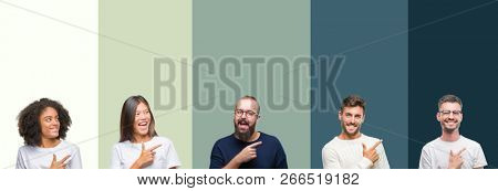 Collage of group of young people over colorful isolated background cheerful with a smile of face pointing with hand and finger up to the side with happy and natural expression on face looking