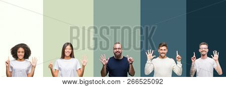 Collage of group of young people over colorful isolated background showing and pointing up with fingers number six while smiling confident and happy.
