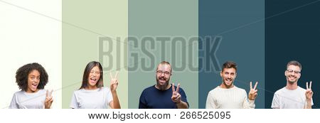 Collage of group of young people over colorful isolated background smiling with happy face winking at the camera doing victory sign. Number two.