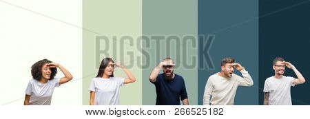 Collage of group of young people over colorful isolated background very happy and smiling looking far away with hand over head. Searching concept.