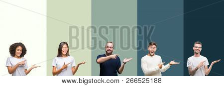 Collage of group of young people over colorful isolated background amazed and smiling to the camera while presenting with hand and pointing with finger.
