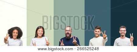 Collage of group of young people over colorful isolated background smiling looking to the camera showing fingers doing victory sign. Number two.