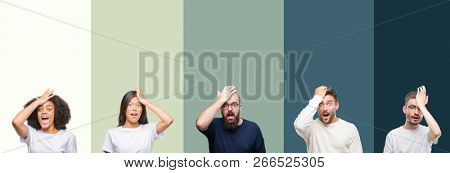 Collage of group of young people over colorful isolated background surprised with hand on head for mistake, remember error. Forgot, bad memory concept.